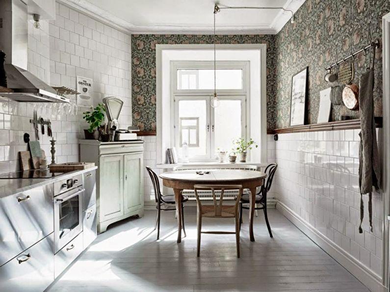 Темные обои с растительным принтом для кухни - дизайн фото