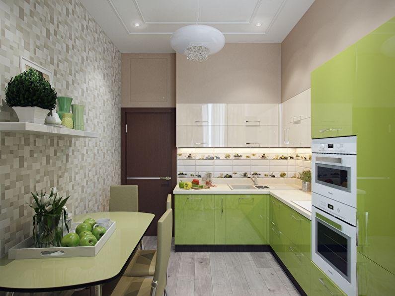 Бежевые обои для зеленой кухни - дизайн фото