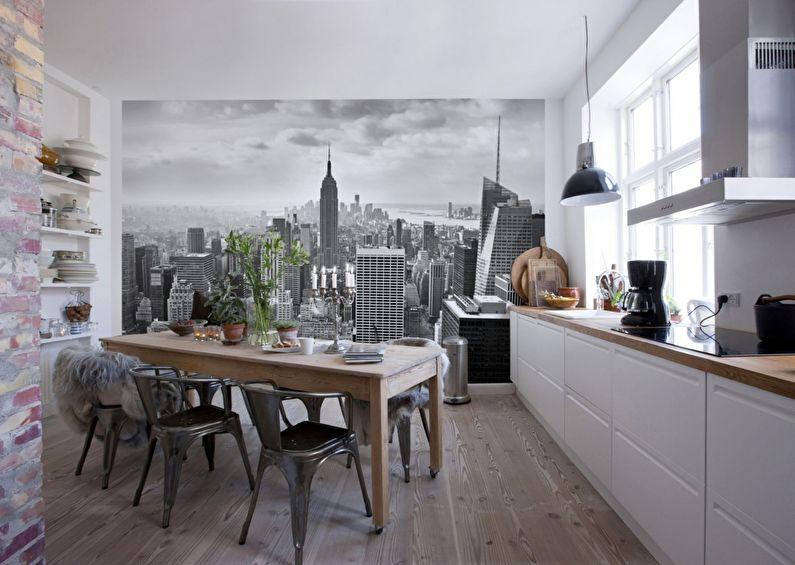 Фотообои для кухни в скандинавском стиле - дизайн