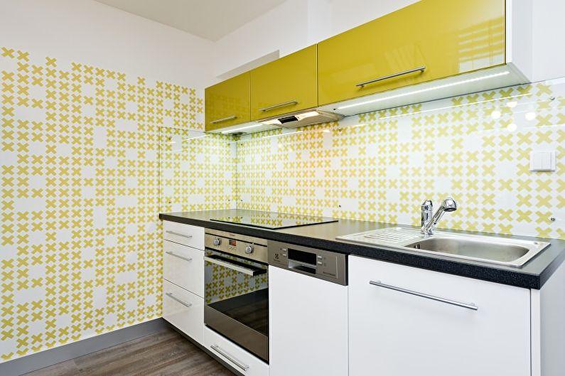 Желтые обои для маленькой кухни - дизайн фото