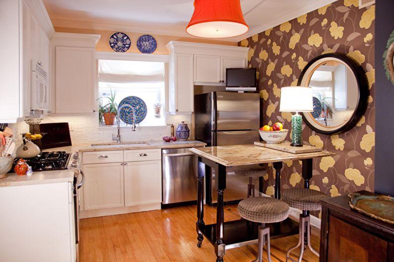 Коричневые обои с растительным орнаментом для кухни - дизайн фото