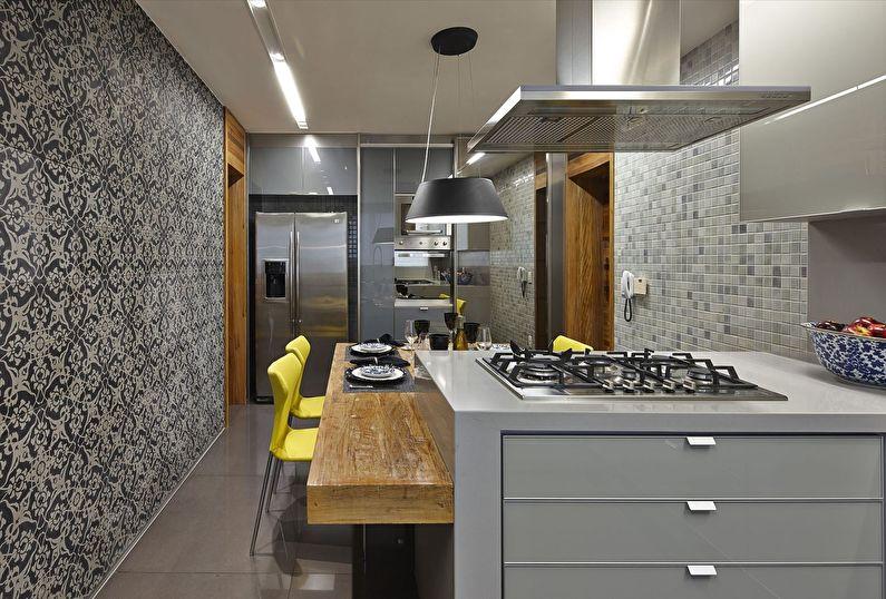 Черно-белые обои для кухни в современном стиле - дизайн фото