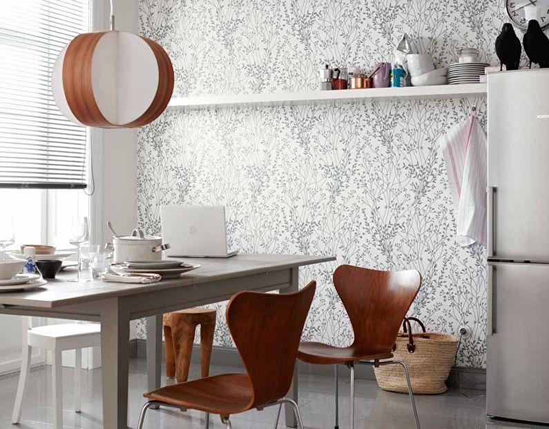 Белые обои для кухни в современном стиле - дизайн фото
