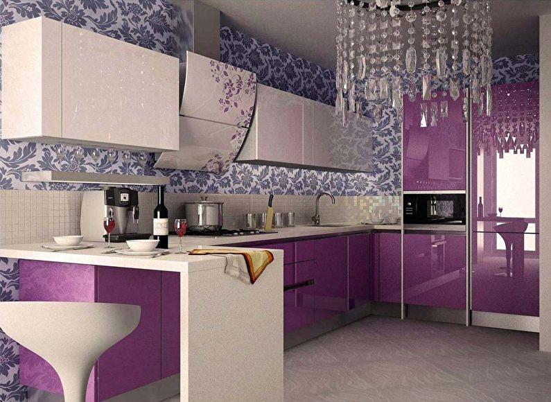 Фиолетовые обои для кухни в стиле ар-деко - дизайн фото
