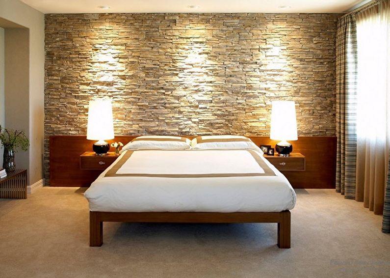 Декоративный камень в интерьере спальни - фото