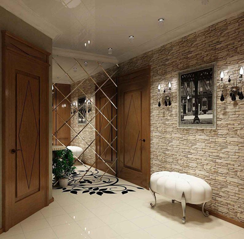 Декоративный камень в интерьере прихожей и коридора - фото