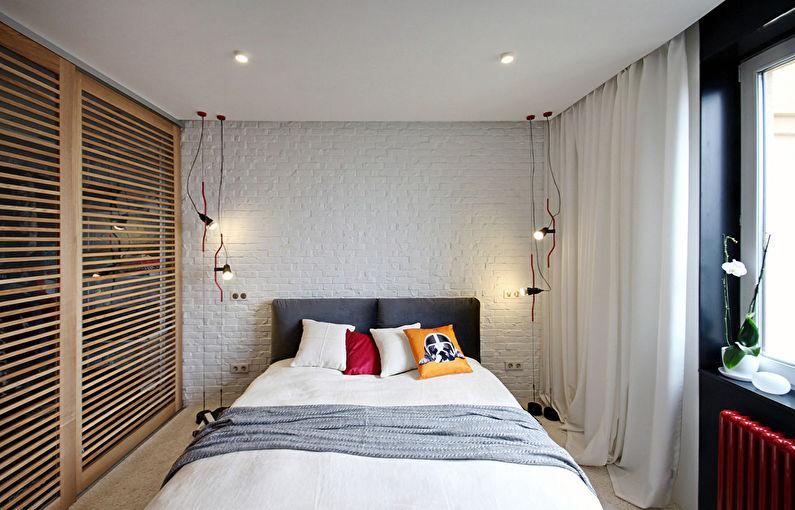 Дизайн маленькой спальни в стиле лофт - фото