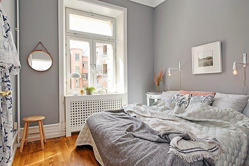 Дизайн маленькой спальни в серых тонах - фото
