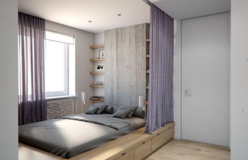 Дизайн пола в маленькой спальне - фото