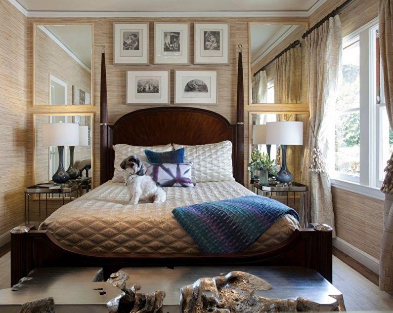 Оформление стен в маленькой спальне - фото