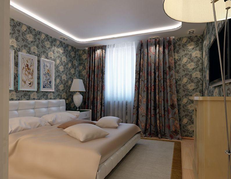Дизайн потолка в маленькой спальне - фото