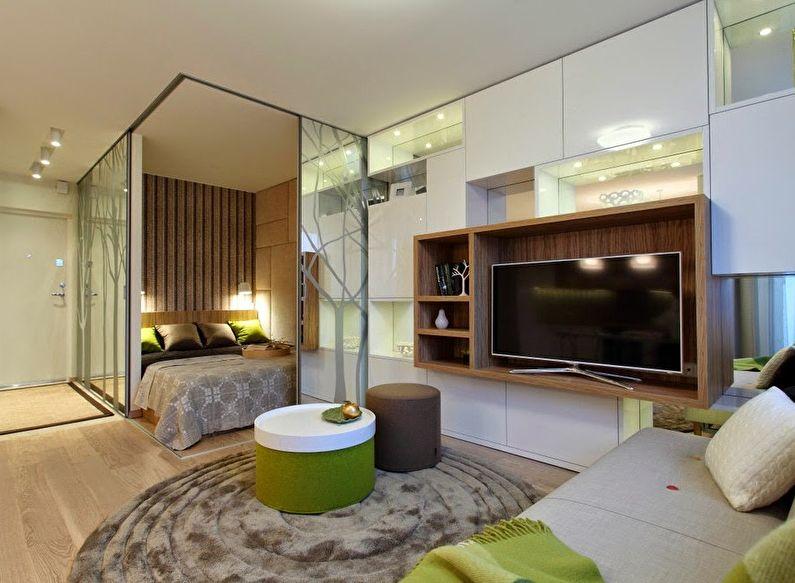 Совмещение маленькой спальни с гостиной - дизайн фото