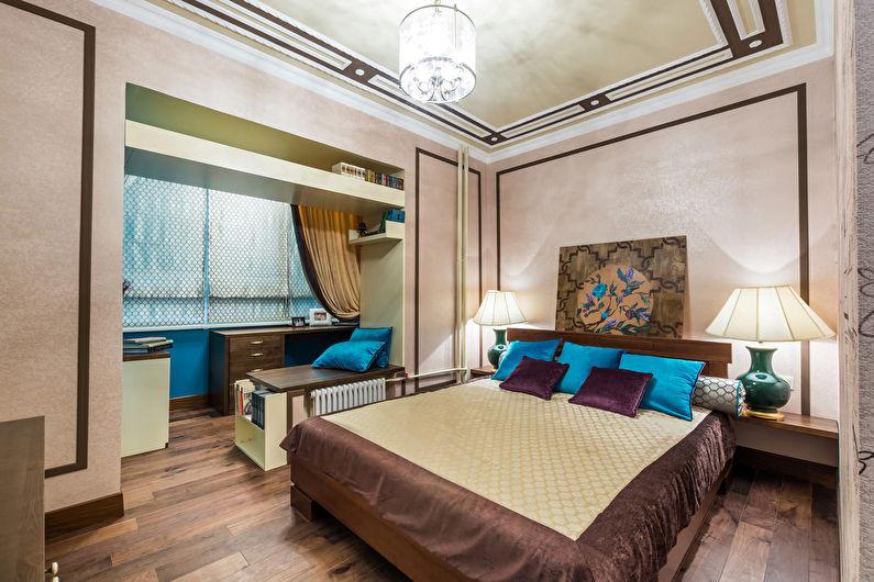Совмещение маленькой спальни с балконом или лоджией - дизайн фото