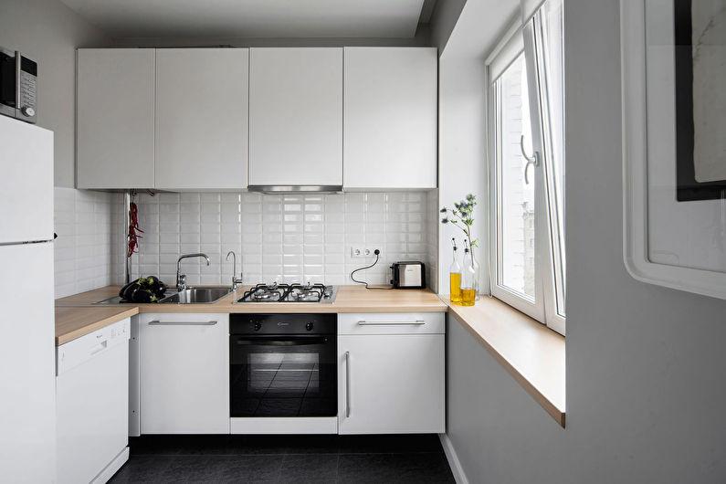 Белая кухня в хрущевке - дизайн интерьера