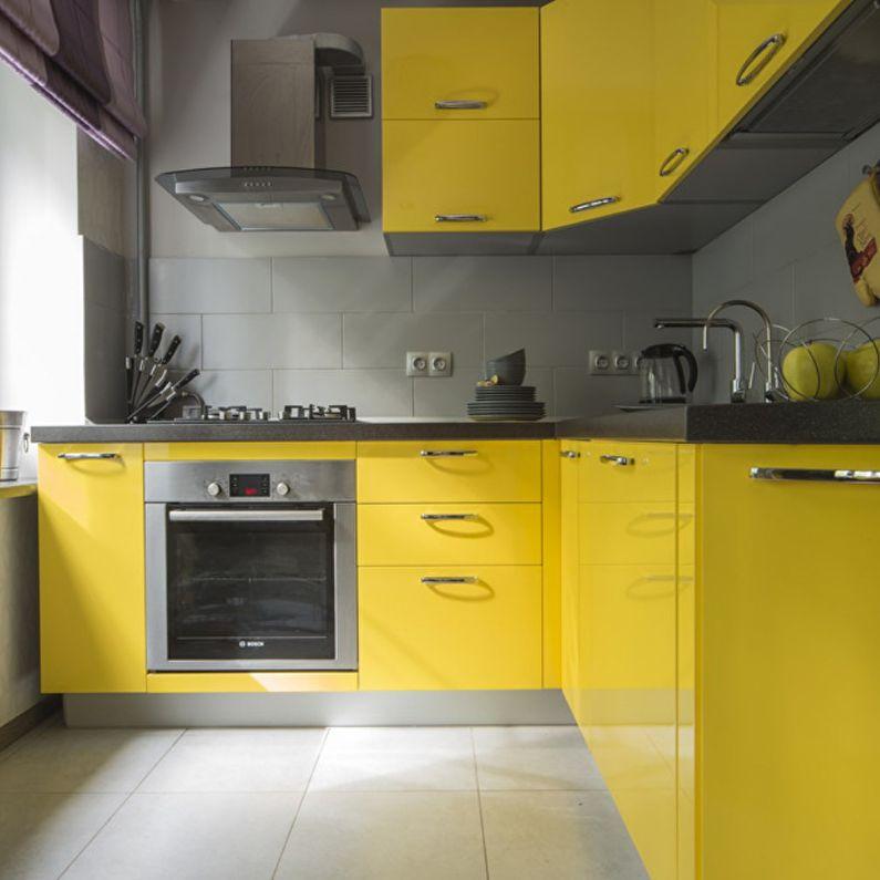 Желтая кухня в хрущевке - дизайн интерьера