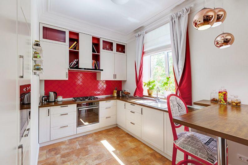 Красная кухня в хрущевке - дизайн интерьера