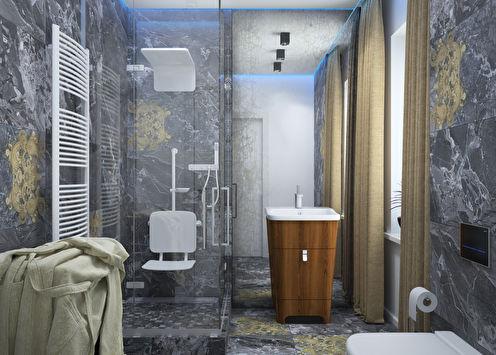 Ванная 6 м2 в стиле минимализм, Жуково
