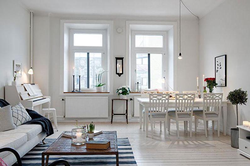 Белая гостиная в скандинавском стиле - Дизайн интерьера