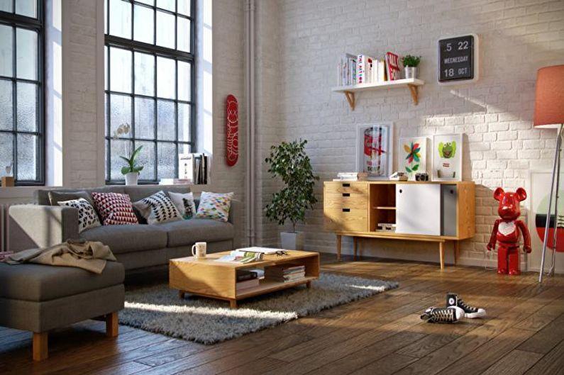 Бежевая гостиная в скандинавском стиле - Дизайн интерьера