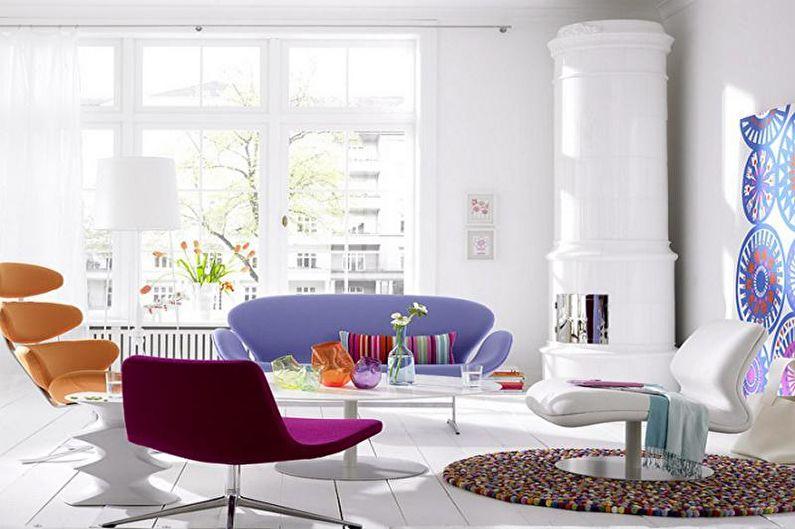 Сиреневая гостиная в скандинавском стиле - Дизайн интерьера