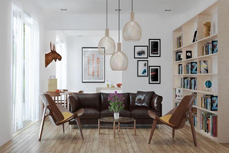 Коричневая гостиная в скандинавском стиле - Дизайн интерьера