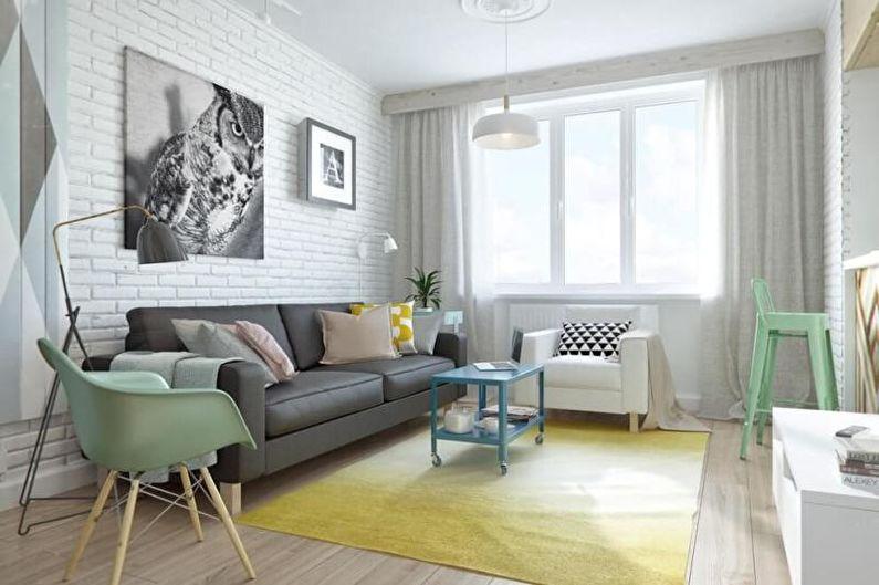 Зеленая гостиная в скандинавском стиле - Дизайн интерьера