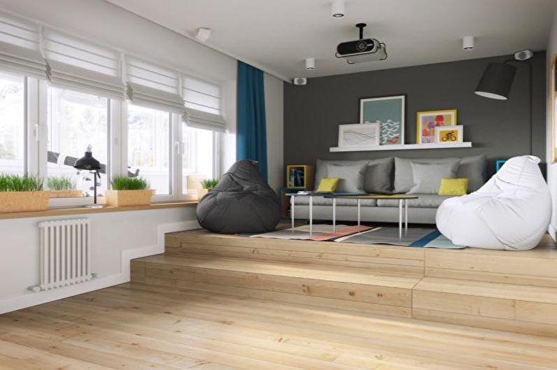 Дизайн гостиной в скандинавском стиле - Отделка пола