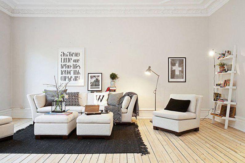 Дизайн гостиной в скандинавском стиле - Отделка стен