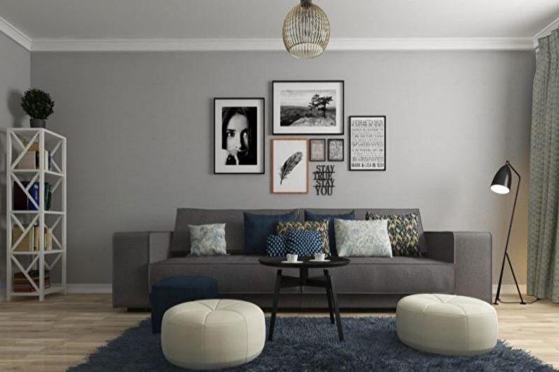 Дизайн гостиной в скандинавском стиле - Отделка потолка