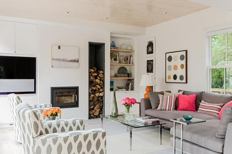 Дизайн гостиной в скандинавском стиле - Декор и текстиль