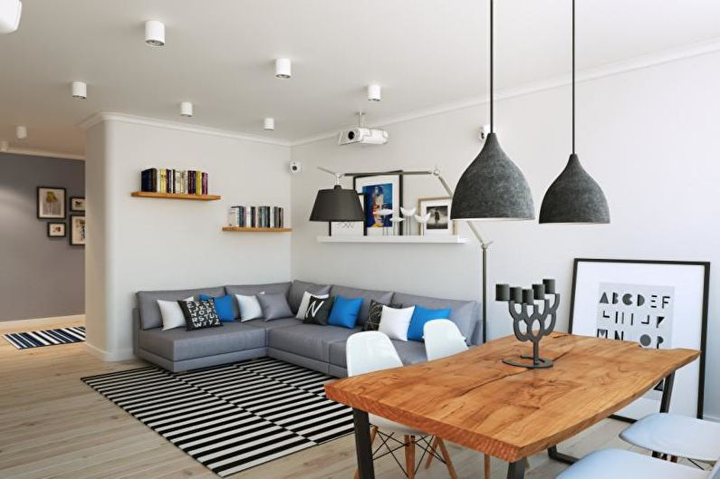 Дизайн интерьера гостиной в скандинавском стиле - фото