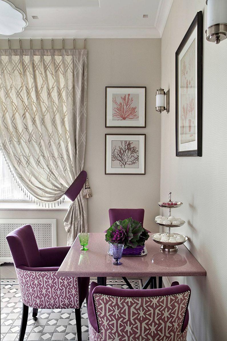 Сиреневый цвет в интерьере кухни - Дизайн фото