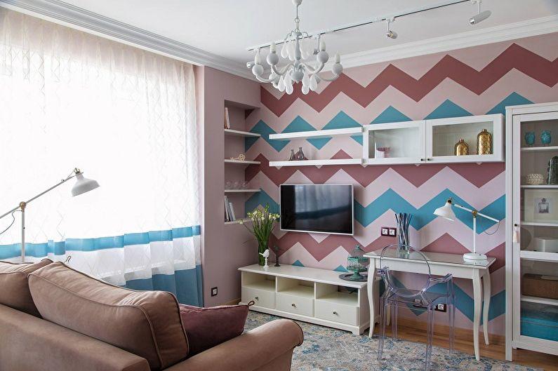 Сиреневый цвет в интерьере гостиной - Дизайн фото