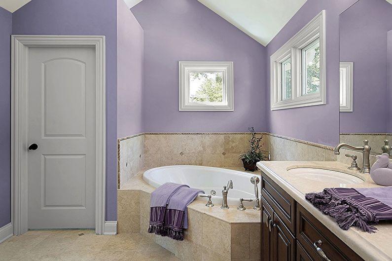 Сиреневый цвет в интерьере ванной комнаты - Дизайн фото