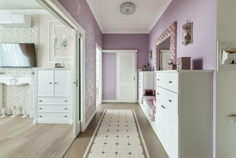 Сиреневый цвет в интерьере прихожей - Дизайн фото
