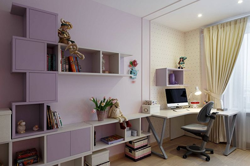 Сиреневый цвет в интерьере детской комнаты - Дизайн фото