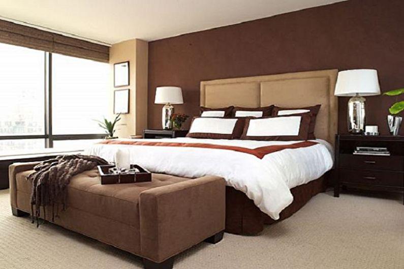 Kombinationen af farver i det indre af soveværelset
