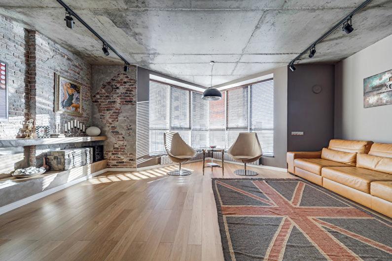Дизайн гостиной в стиле лофт - Особенности