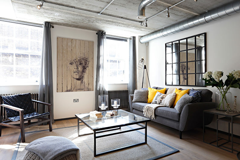 Белая гостиная в стиле лофт - Дизайн интерьера
