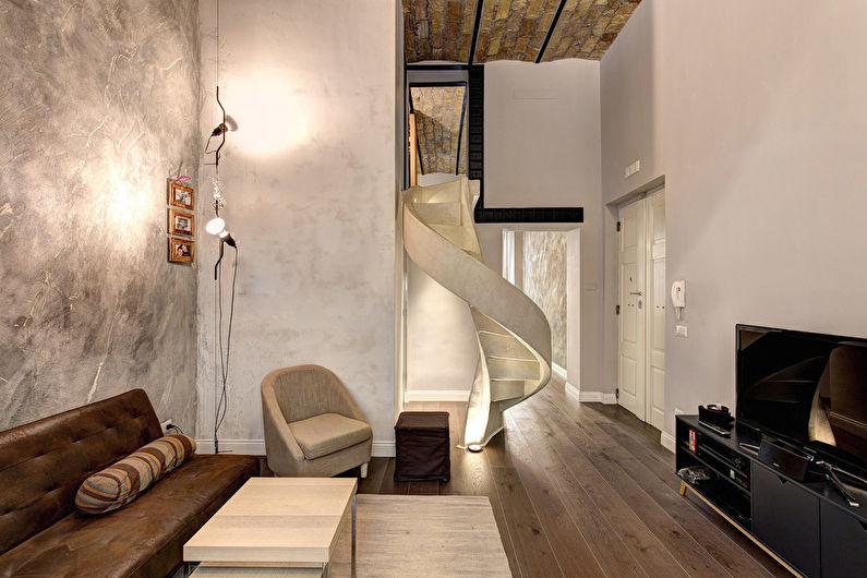 Бежевая гостиная в стиле лофт - Дизайн интерьера