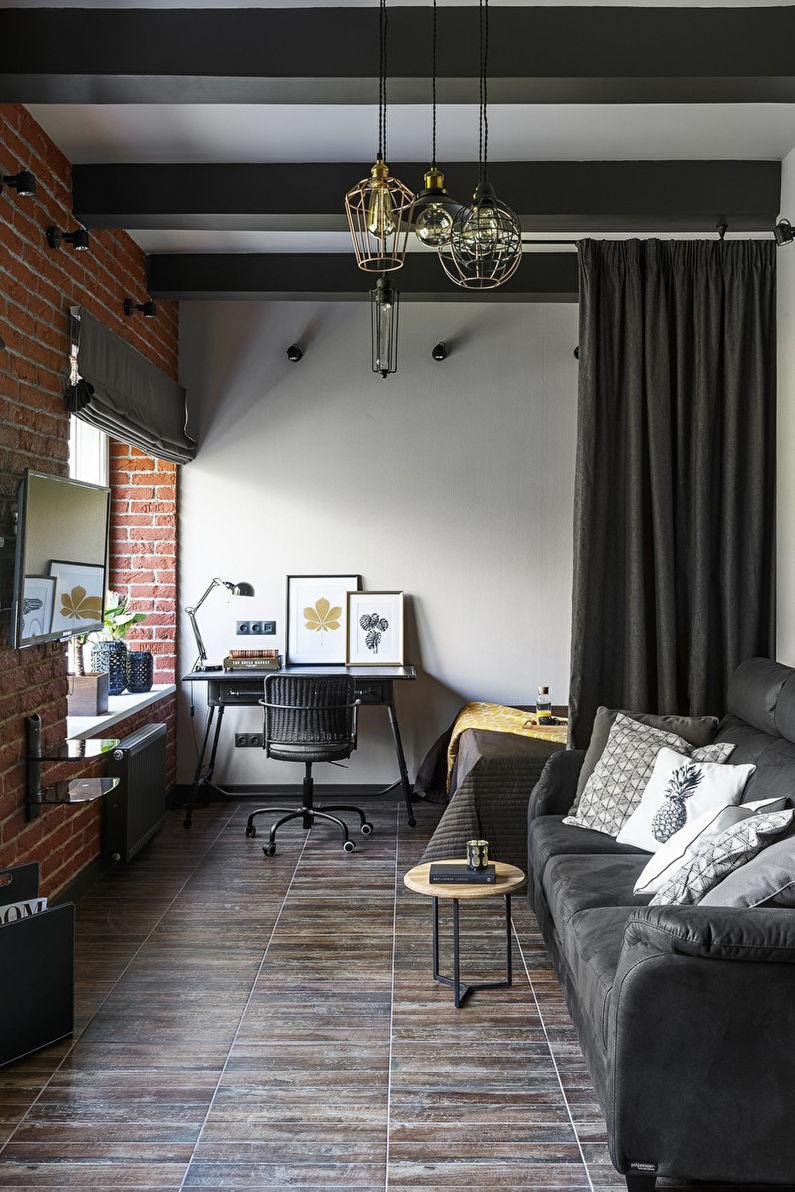 Коричневая гостиная в стиле лофт - Дизайн интерьера