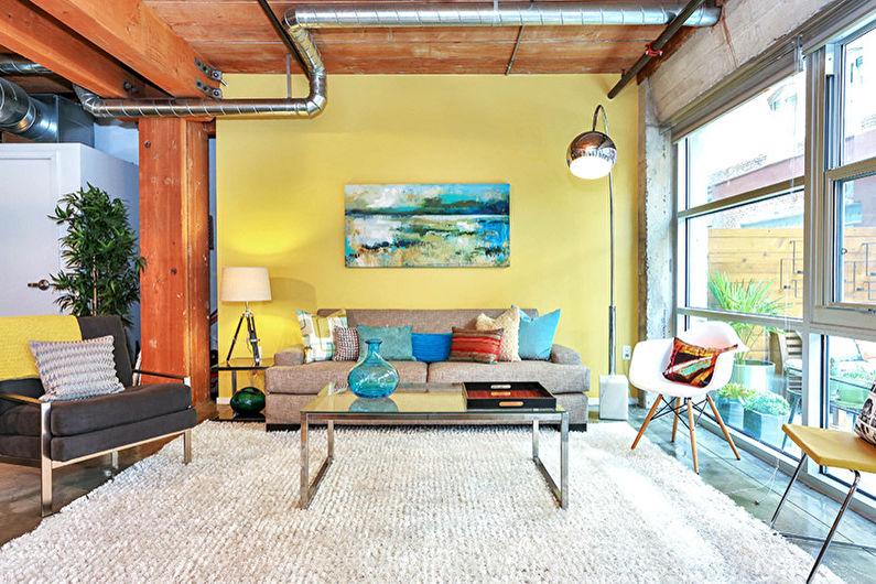 Желтая гостиная в стиле лофт - Дизайн интерьера