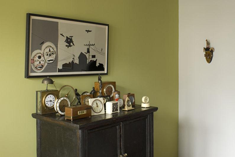 Оливковая гостиная в стиле лофт - Дизайн интерьера
