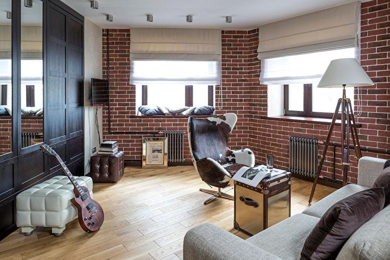 Дизайн гостиной в стиле лофт - Отделка пола