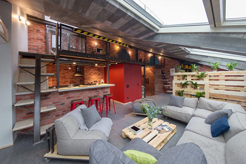 Дизайн гостиной в стиле лофт - Отделка стен