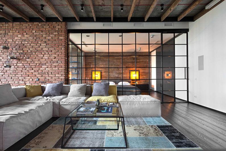Дизайн гостиной в стиле лофт - Отделка потолка