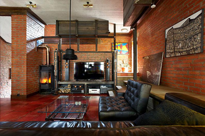 Дизайн гостиной в стиле лофт - Мебель