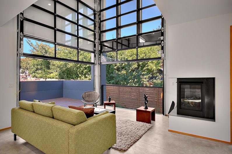 Дизайн интерьера гостиной в стиле лофт - фото