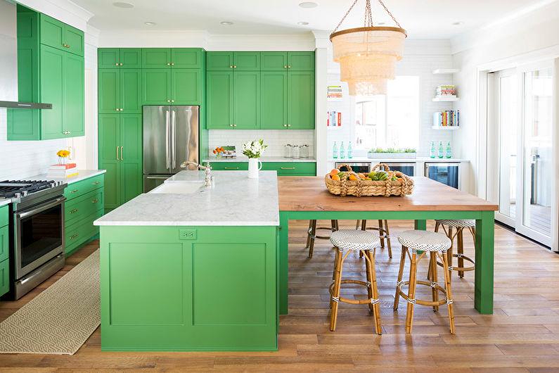 Зеленая кухня 20 кв.м. - Дизайн интерьера