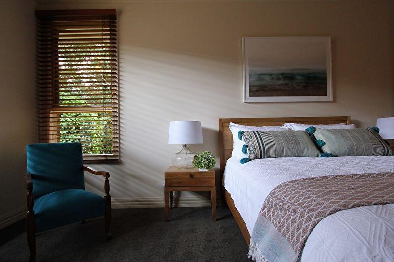 Бежевая спальня в скандинавском стиле - Дизайн интерьера
